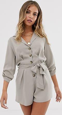 Miss Selfridge utility playsuit in beige