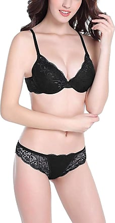 Uzi Nyc Sexy Push Up Embroidery Bras Set Transparent Underwear Lingerie Lace Bra,Black,34C