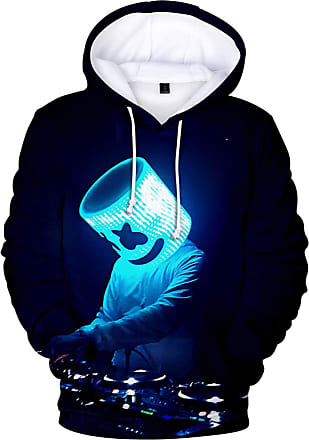OLIPHEE Mens Fashion 3D Prints Hoodies DJ Inspired Graphic Pullover Jumpers Casual with Pockets Black Blue 2XS