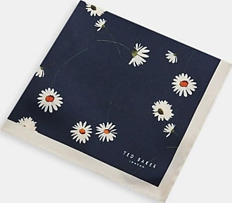 Ted Baker Flower Print Silk Pocket Square in Navy LINEPOK, Mens Accessories