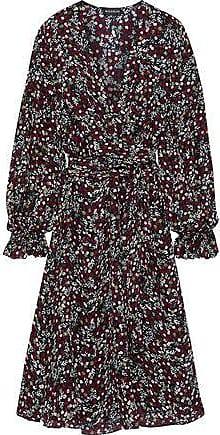 Nicholas Nicholas Woman Mini Daisy Wrap-effect Floral-print Silk Dress Burgundy Size 10