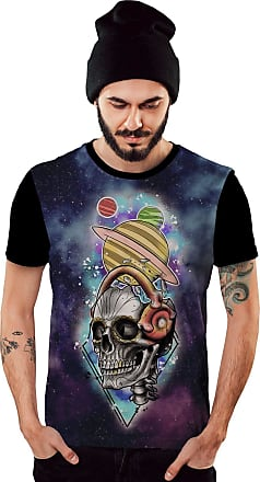 Di Nuevo Camiseta Caveira Planet Galaxy Color Masculina
