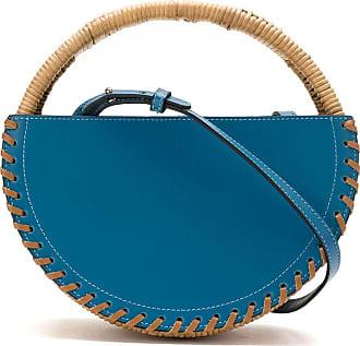 Waiwai Bolsa Petit Alfaia vime e couro - Azul