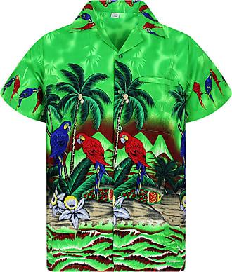 V.H.O. Funky Hawaiian Shirt, Parrot, green, 5XL