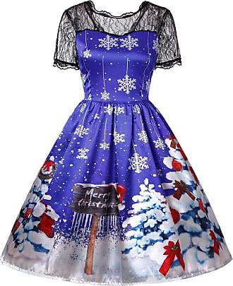 JUTOO Womens Ladies Long Sleeve Vintage Lace Party Evening Retro DressWomens Xmas Christmas Santa Skater Ladies Snowman Swing Dress