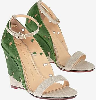 Charlotte Olympia Canvas and Leather VERDANT Sandals 10 cm size 36,5