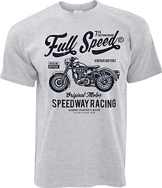 Tim And Ted Retro Biker T Shirt Full Speed Speedway Racing Art - (Grey/XXXXX-Large)
