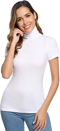 Abollria Womens Turtle Polo Neck Short Sleeve Stretchy Bodycon Casual Jumper Sweater T-Shirt White