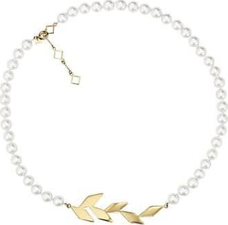 Misaki Collier ras de cou Tree doré avec perles blanches