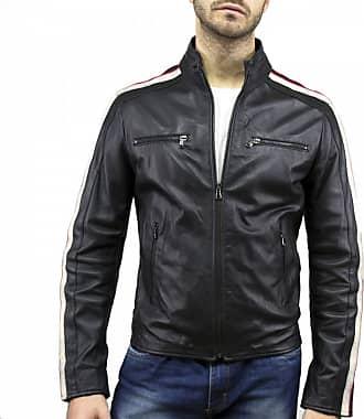 Leather Trend Italy Biker Uomo - Giacca in Vera Pelle colore Nero Morbida