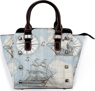 Browncin Nautical Sailboat Map Panel Blue Boat Sketch Old Ship Wheel Compass Anchor Detachable Fashion Trend Ladies Handbag Shoulder Bag Messenger Bags