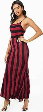 Forever 21 Forever 21 Striped Lace-Up Crisscross Cami Dress Wine