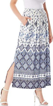 Roman Originals Women Boho Border Maxi Skirt - Ladies Elasticated Waistband High Waisted Maxi Length Bohemian Boho Festival Holiday Skirts - Blue - Size 10