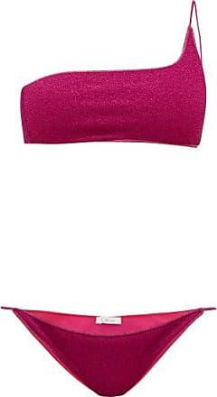 Oséree Lumière One-shoulder Metallic Bikini - Womens - Dark Pink