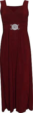 Purple Hanger Womens New Sleeveless Ladies Stretch Cross Over Wrap Buckle Belt Back Tie Fastening Long Maxi Dress Plus Size Burgundy Size 16 - 18
