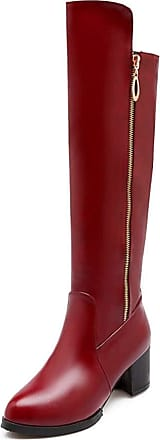 Generic Women Long Boots Solid Color Casual Leather Platform Warm Shoes Winter Work Party Comfortable Non Slip Zip Knee High Boot Red