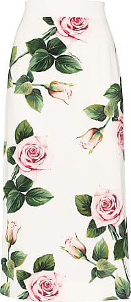 Dolce & Gabbana Charmeuse floral-print midi skirt - Branco