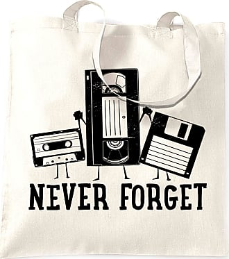 Tim And Ted Retro Tote Bag Never Forget VHS and Floppy Discs - (White/One Size)
