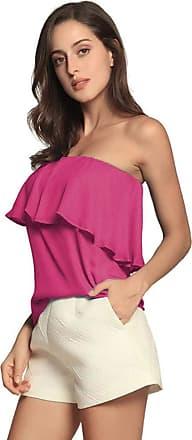 YYW Women Summer Casual Sexy Tops Tube Top Chiffon Sleeveless Flowy Blouse Strapless Ruffle Swing Shirt (Rose,Xl)