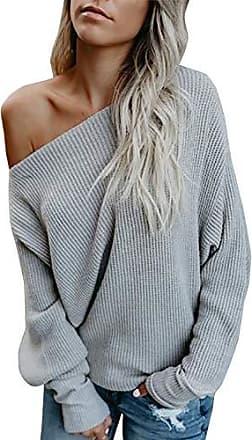 Damen Cold Shoulder Strickpullover V-Ausschnitt Tunika Langarm Oberteile Sweater