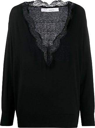 Iro Blusa de tricô com aplicação na gola - Preto