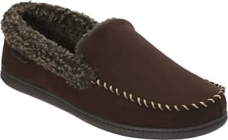 Dearfoams Mens Microsuede Moc Whipstitch Mem Foam Slipper Brown Size: L