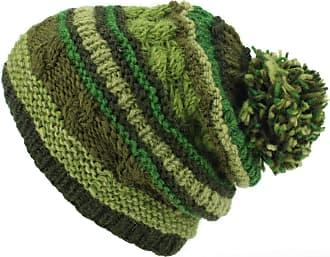 Loud Elephant Wool Knit Bobble Beanie Hat - Stripe Green