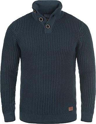Blend Walt Mens Jumper Chunky Knit Pullover Troyer Made of 100% Cotton, Size:L, Colour:Navy (70230)