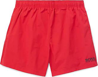 b44cef37 HUGO BOSS Short-length Logo-embroidered Swim Shorts - Red