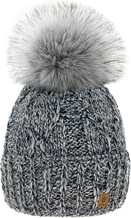 4sold Womens Ladies Chunky Soft Cable Knit Handmade Hat Natural Alpaca Wool Inside Cosy Fleece Liner Faux Fur Pom Pom (Grey)