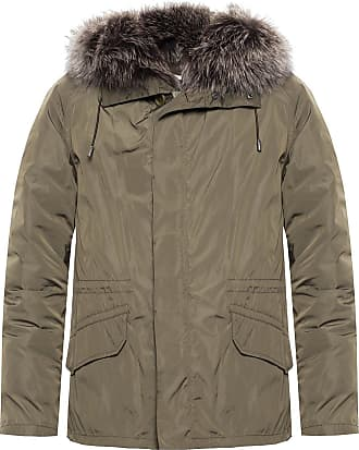 Yves Salomon Jacket With Fox Fur Mens Green