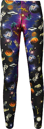 Insanity Travelling Through Space Galaxy Space Ship Planets Printed Leggings (L/XL) Black