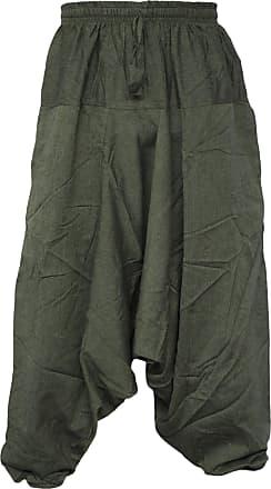 Gheri Mens Light Cotton Drop Crotch Ninja Aladdin Genie Harem Pants Trousers Green L/XL