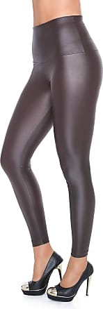 FUTURO FASHION Sexy Shiny Wet Look & Mat Full Length Leggings High Waist Latex Imitation Leather Chocolate 20 UK (XXXL)