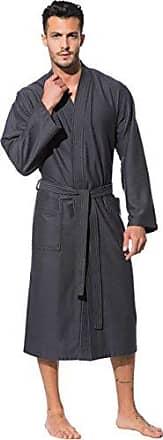 f93cf24554 Morgenstern Kimono Bademantel Herren Saunamantel Grau Morgenmantel  Duschmantel Baumwolle Microfaser Viskose Bambus leicht kompakt Männer Größe