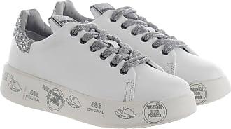 Premiata Sneaker in pelle e glitter bianco argento 38