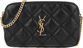 Saint Laurent Becky Double Zip Pouch Leather Black Umhängetasche schwarz