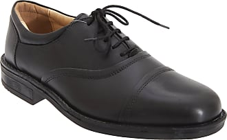 Roamers Mens Softie Leather Blind Eye Flexi Capped Oxford Shoes (14 UK) (Black)