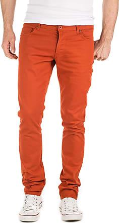 Yazubi Chino Trousers for Men Pants Slim Fit Casual Simon Cotton Big and Tall Clothing, Orange (Burnt Brick 181350), W38/L34