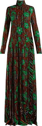 Prada Floral-print Roll-neck Gown - Womens - Green Multi
