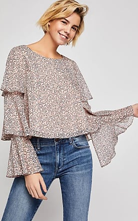 BCBGeneration Abstract Print Tiered Ruffle Top