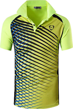 Jeansian Mens Sports Breathable Quick Dry Short Sleeve Striped Polo T-Shirts Tee Tops Running Training LSL243 GreenYellow XL