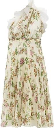 Giambattista Valli One-shoulder Floral-print Plissé Silk Dress - Womens - Ivory Multi