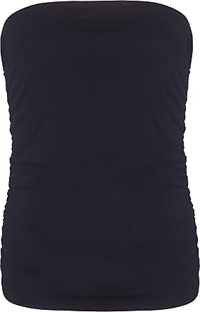 Purple Hanger Womens Plain Ruched Ladies Sleeveless Gathered Elasticated Soft Stretch Strapless Bandeau Boob Tube Vest Top Black Size 14 - 16 (L/XL)