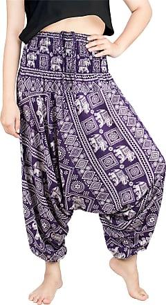 Lofbaz Womens Elephant Stamp 2 in 1 Harem Trousers Jumpsuit Dark Purple XL
