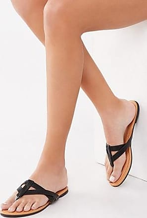 Forever 21 Forever 21 Faux Leather Thong Sandals Black