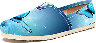 Tizorax Slip on Loafer Shoes for Women Glowing Butterflies On Water Comfortable Casual Canvas Flat Boat Shoe, UK Size 3.5