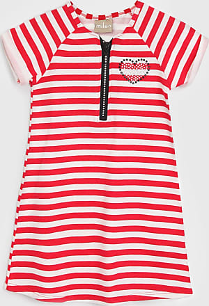Milon Vestido Milon Infantil Listrado Vermelho/Off-White