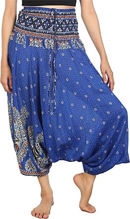 Lofbaz Womens Thai Floral Harem 2 in 1 Pants Jumpsuit Blue 2XL