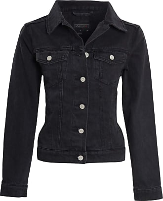 Shelikes Womens Denim Jacket Ladies Black Blue Button Up Vintage Wash Size 8-16[Black, UK 10]